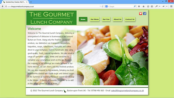 The Gourmet Lunch Company website